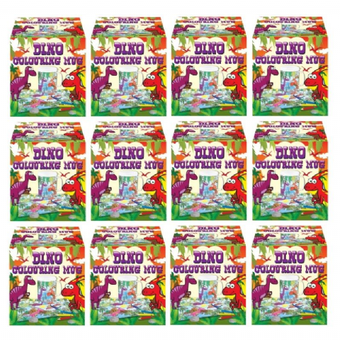 12 x Dinosaur Colouring Mugs - Colour Your Own Arts & Crafts - Wholesale Bulk Buy
